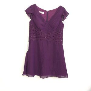 NEW JJ's House Grape Formal Mini Chiffon Dress QK